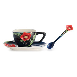 Serenithy Poppy Cup & Saucer with Spoon